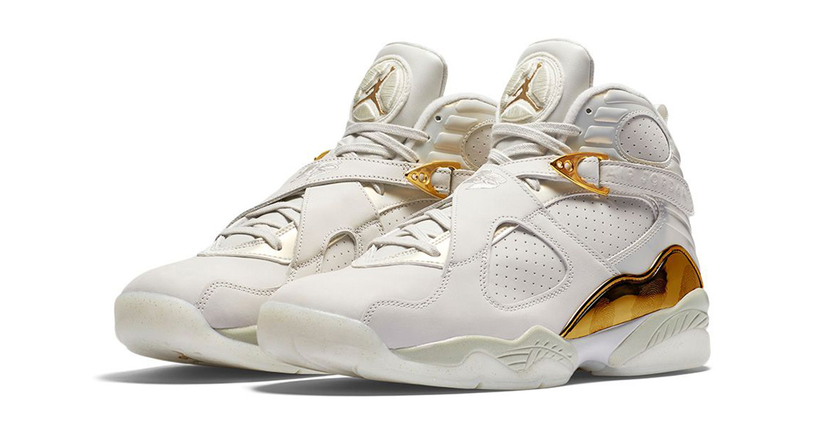 white and gold retro jordans