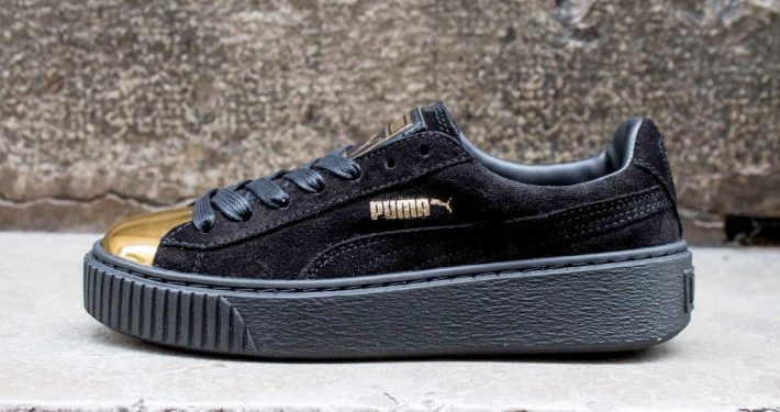 Womens Puma Suede Creeper Black Gold