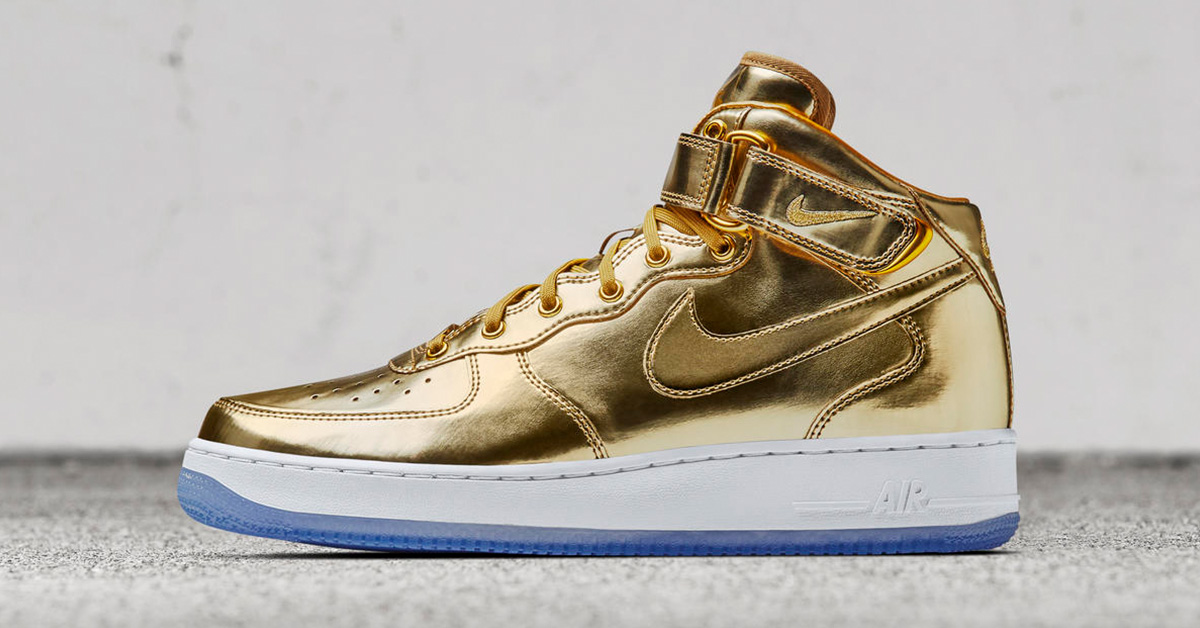 nike air force 1 mid metal gold next level kickz. Black Bedroom Furniture Sets. Home Design Ideas