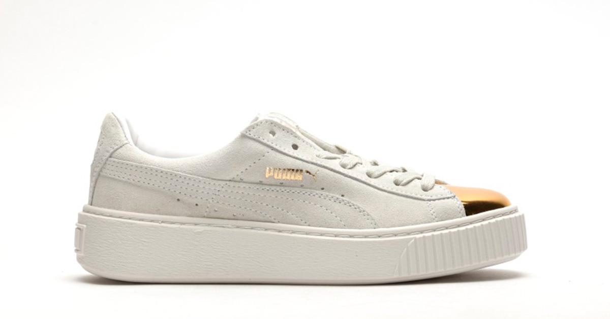 puma platform white gold