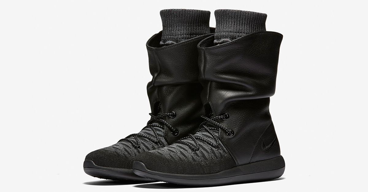Womens Nike Roshe Two Hi Flyknit Black