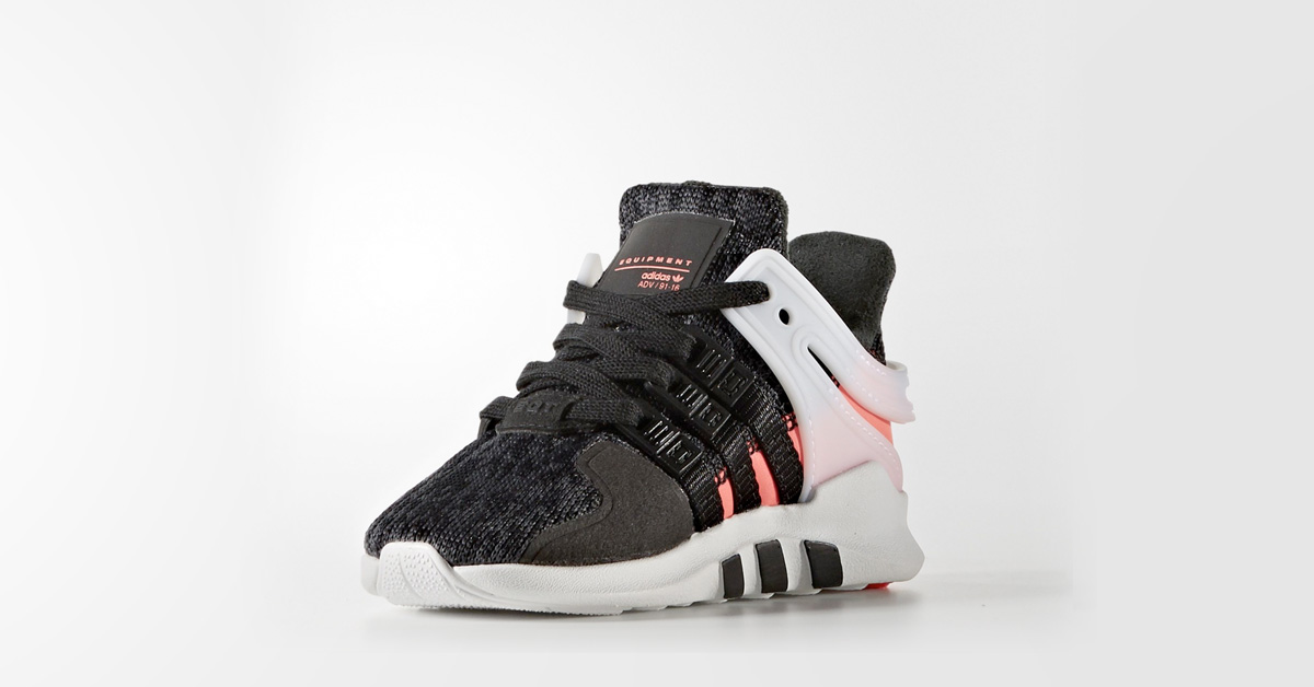 Kids Adidas EQT Support Adv Black Turbo Red