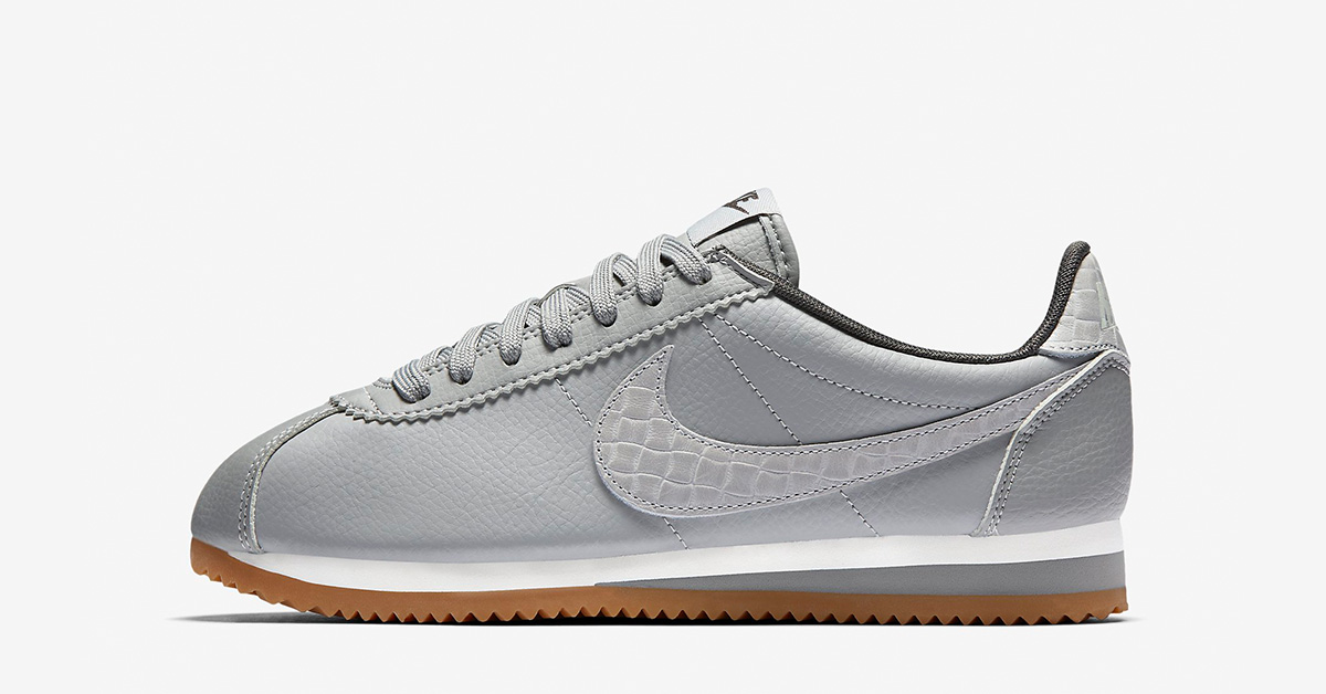 Womens Nike Classic Cortez Leather Lux Weave Matte Silver