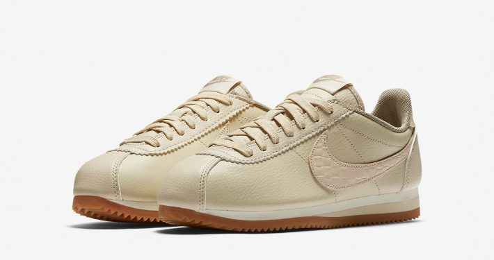 Womens Nike Classic Cortez Leather Lux Weave Oatmeal