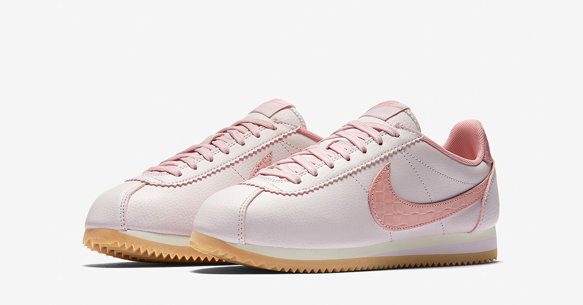 Womens Nike Classic Cortez Leather Lux Weave Pearl Pink