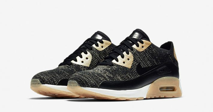 Womens Nike Air Max 90 Flyknit Black Metallic Gold
