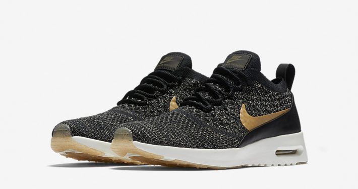 Womens Nike Air Max Thea Flyknit Black Metallic Gold