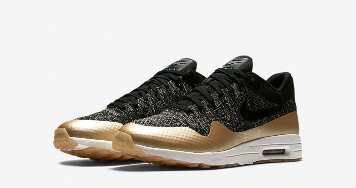 Womens Nike Air Max 1 Ultra 2.0 Flyknit Black Metallic Gold