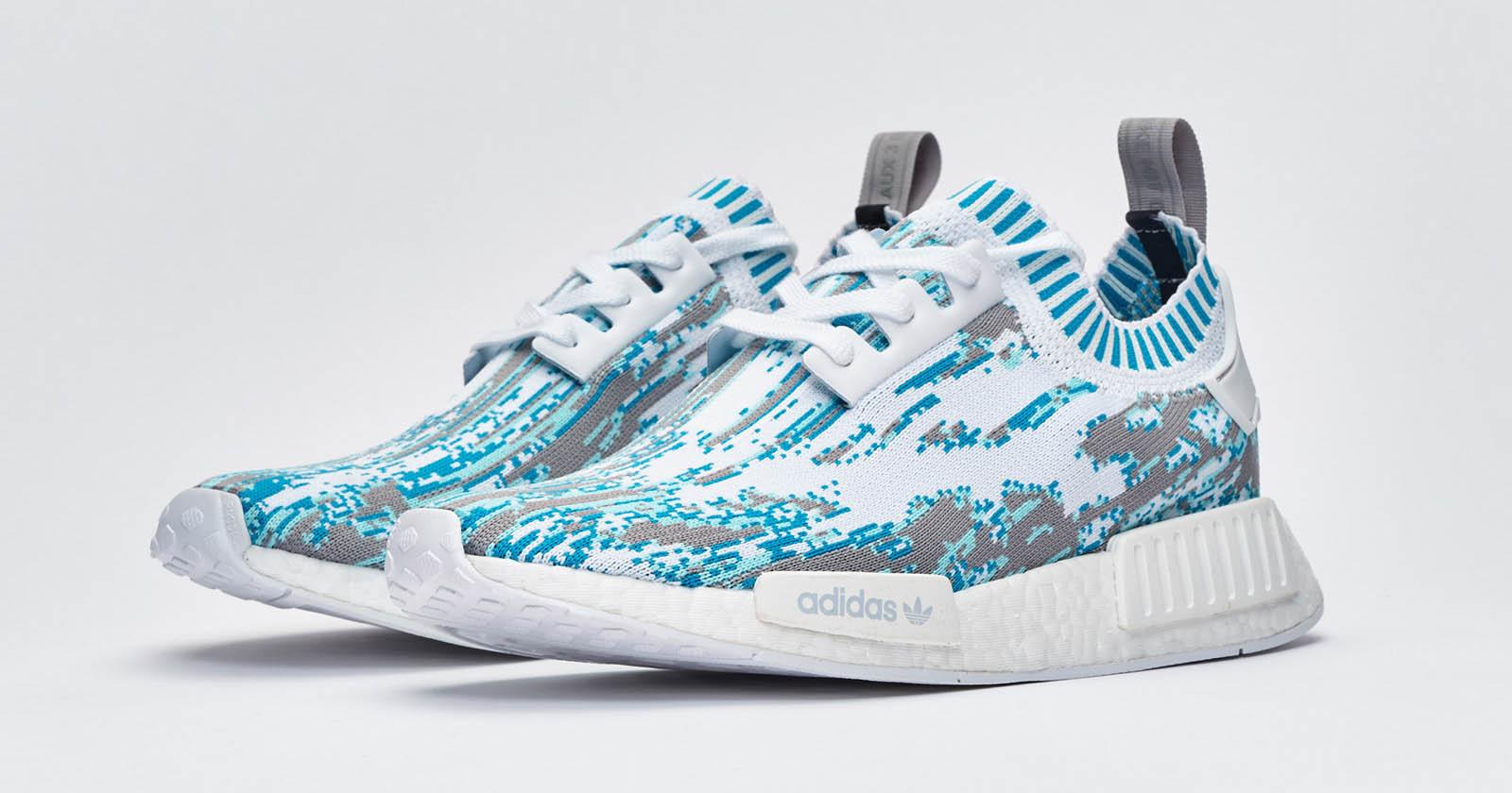 Sneakersnstuff x Adidas NMD R1 PK Datamosh Pack Aqua Grey