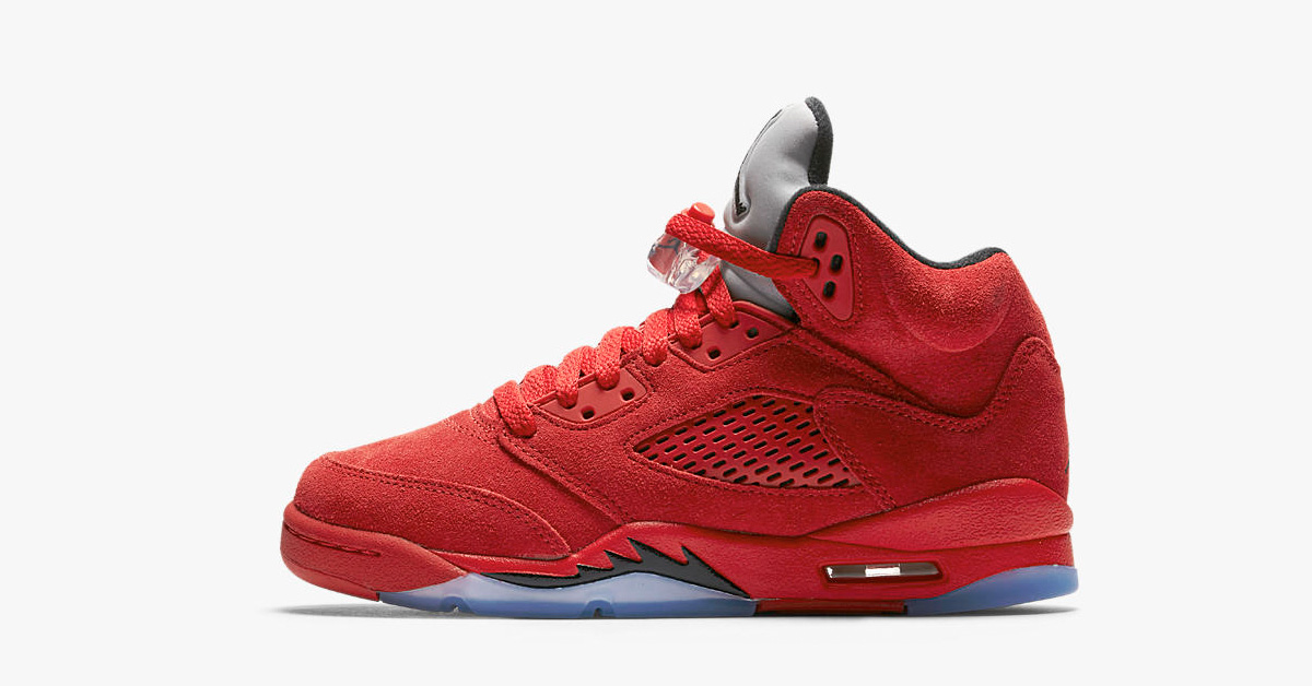 Big Kids Nike Air Jordan 5 Retro Flight Suit University Red
