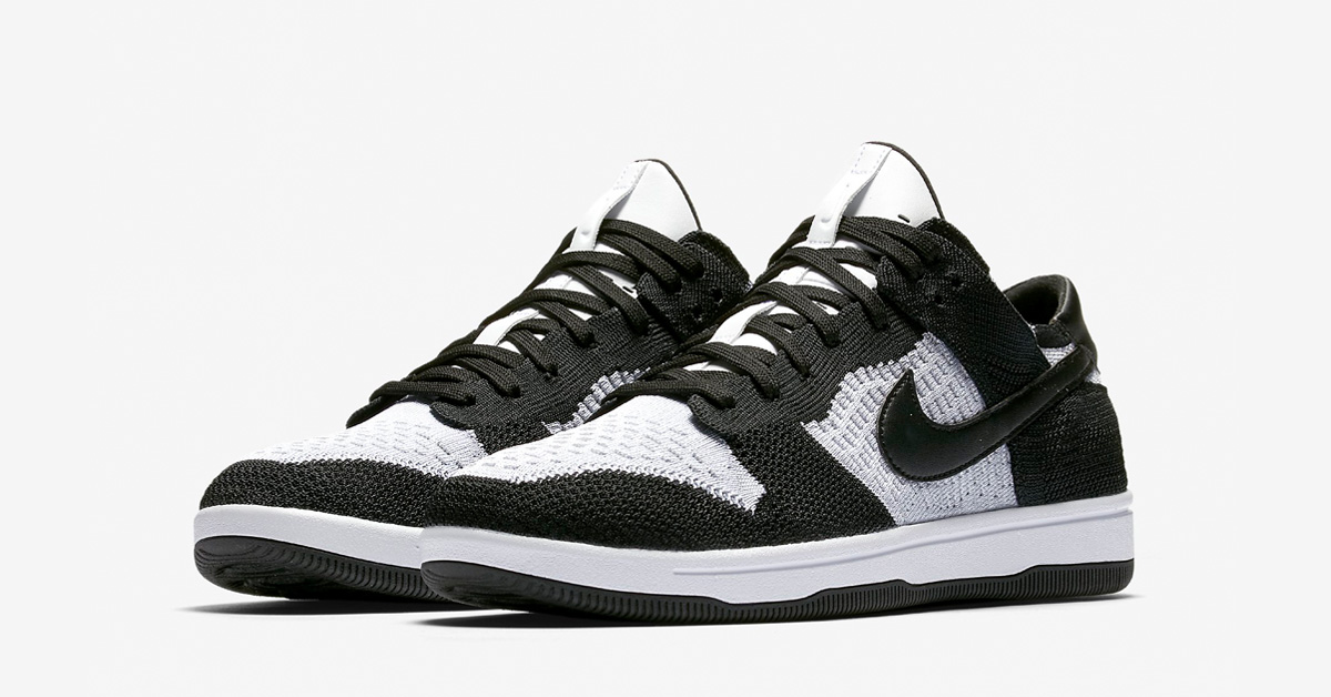 Nike Dunk Low Flyknit White Wolf Grey Black