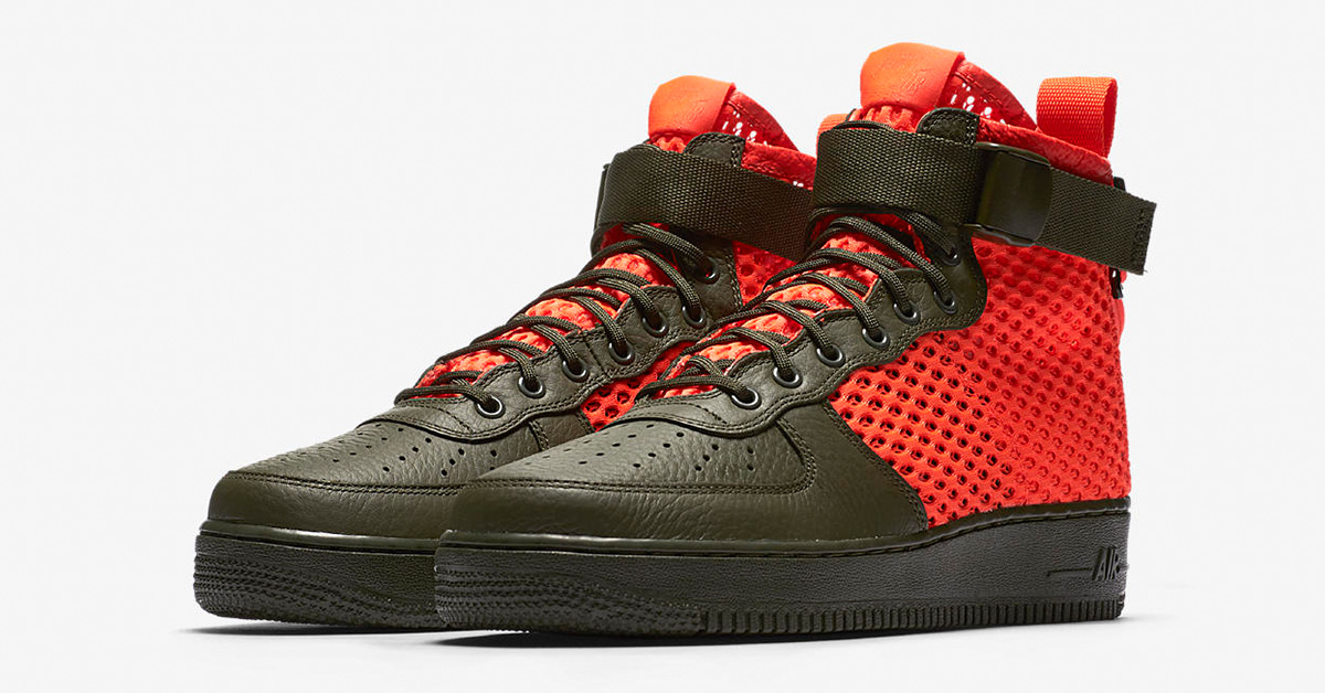 Nike Special Field Air Force 1 Mid Cargo Khaki Total Crimson