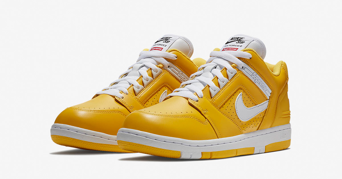 Supreme x Nike SB Air Force 2 Low Varsity Maize