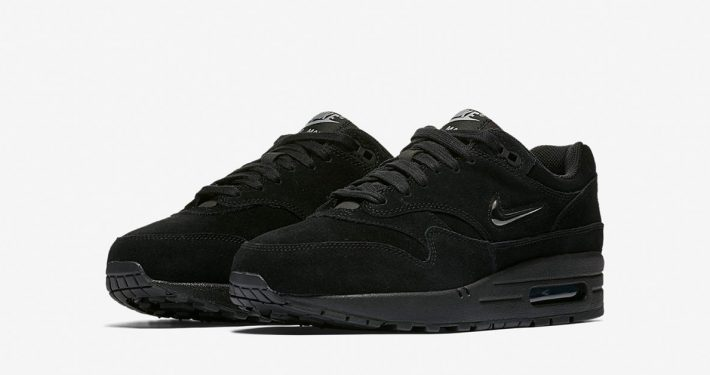 Womens Nike Air Max 1 Jewel Swoosh Black Metallic Silver AA0512-001