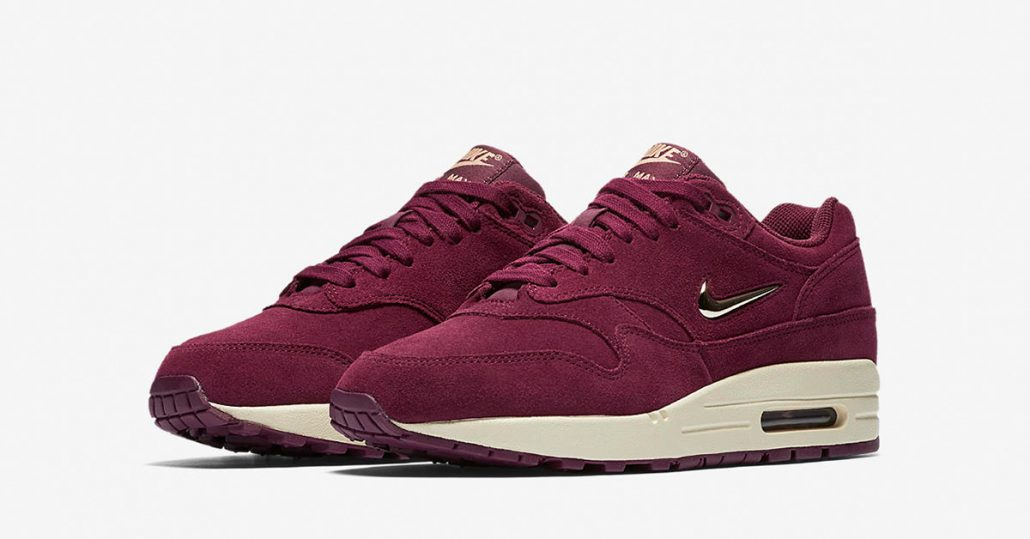 womens nike air max 1 jewel swoosh bordeaux next level kickz. Black Bedroom Furniture Sets. Home Design Ideas