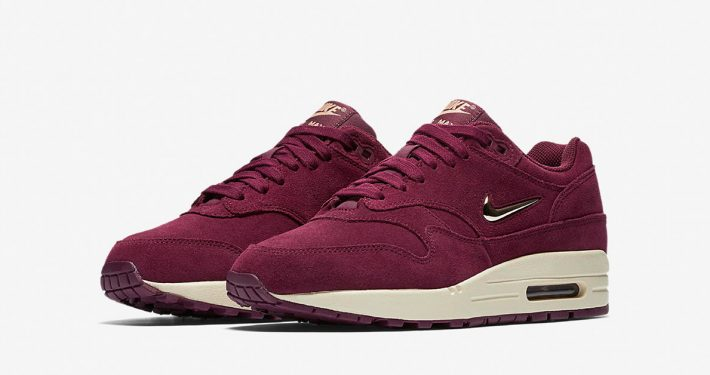 Womens Nike Air Max 1 Jewel Swoosh Bordeaux AA0512-600