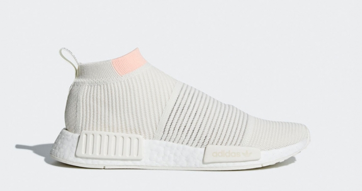 Womens Adidas NMD CS1 Primeknit White Clear Orange AQ1136