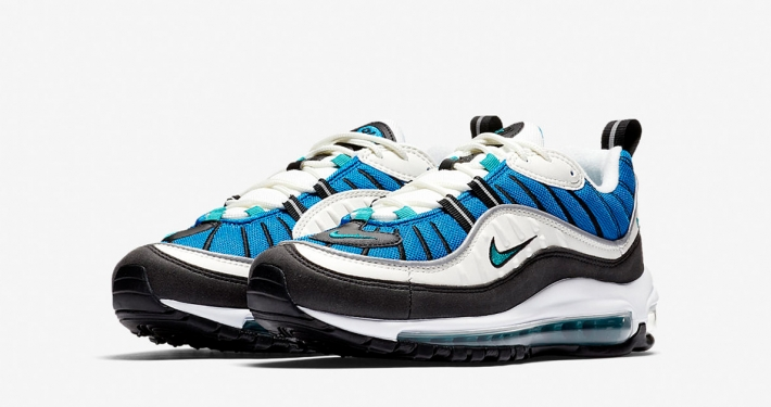 Womens Nike Air Max 98 Radiant Emerald Blue Nebula AH6799-106