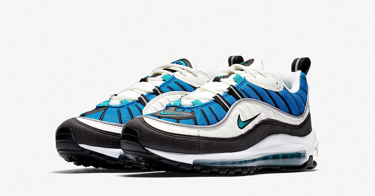 48a6418435 Womens Nike Air Max 98 Radiant Emerald Blue - Next Level Kickz